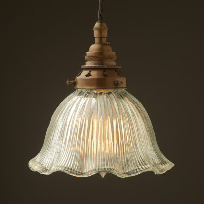 Medium fluted holophane glass Pendant Antique brass