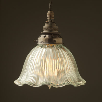 Medium fluted holophane glass Pendant Bronze
