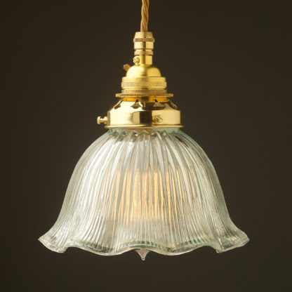 Medium fluted holophane glass Pendant New brass
