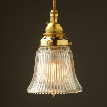 Small Bell shaped holophane glass Pendant New brass