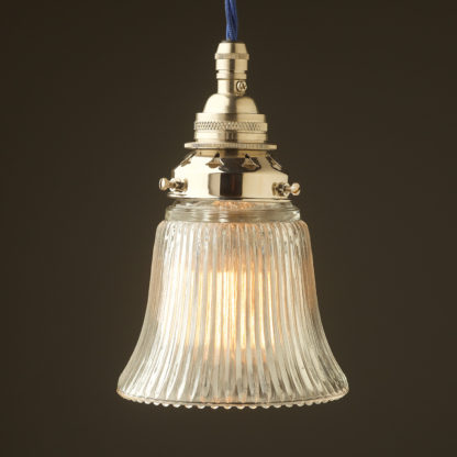 Small Bell shaped holophane glass Pendant Nickel