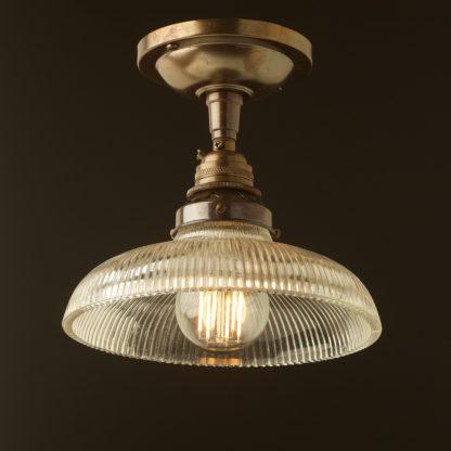 Antique Brass ceiling mount light holophane dish