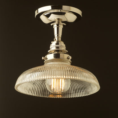 Nickel ceiling mount light holophane dish