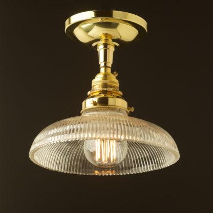 Polished Brass ceiling mount light holophane dish