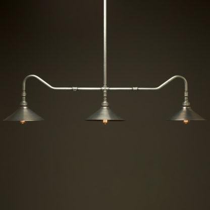 Plumbing Pipe Billiard table light galvanised with fixed shades galvanised