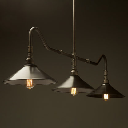 Plumbing Pipe Billiard table light raw steel with fixed antiqued steel shades