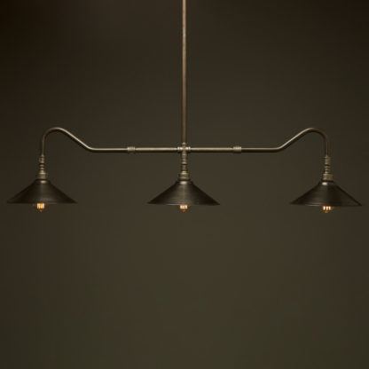 Plumbing Pipe Billiard table light raw steel with fixed antique steel shades