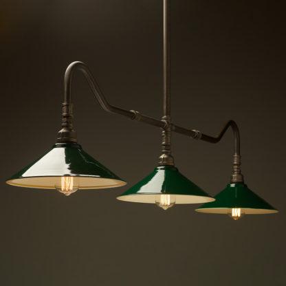 Plumbing Pipe Billiard table light raw steel with fixed green shades