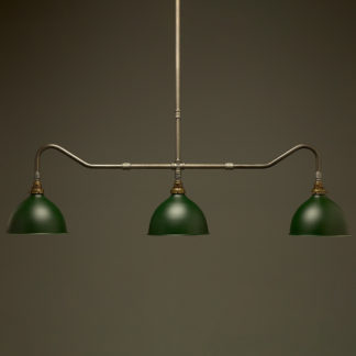 Plumbing Pipe Billiard table light raw steel with green dome shades