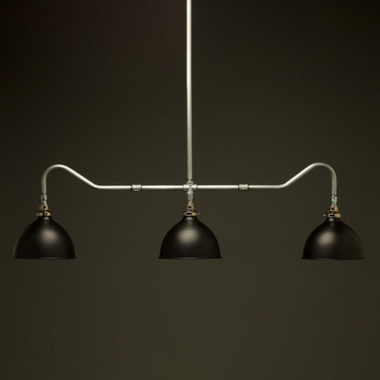 Plumbing Pipe Billiard table light galvanised with flat black dome shades