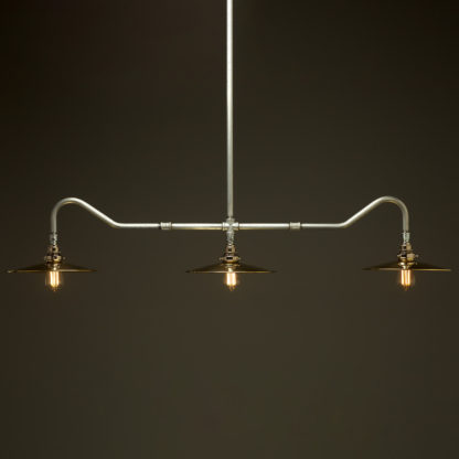 Plumbing Pipe Billiard table light galvanised with flat brass dome shades
