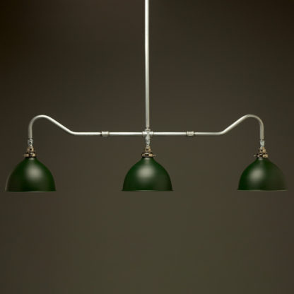 Plumbing Pipe Billiard table light galvanised with green dome shades
