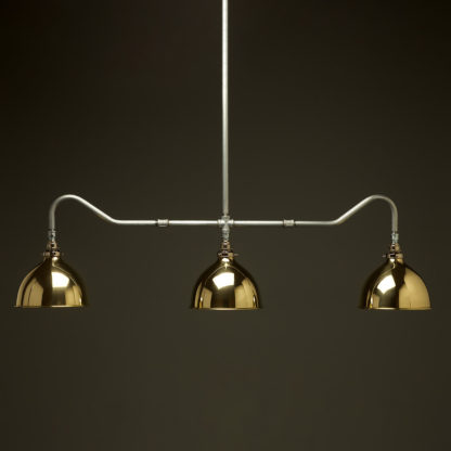 Plumbing Pipe Billiard table light galvanised with polished brass dome shades