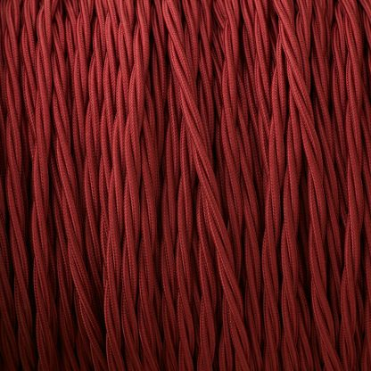 Fabric Covered Braided 3 Core Lighting Flex Burgundy