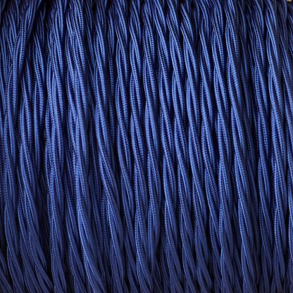 Fabric Covered Braided 3 Core Lighting Flex Blue