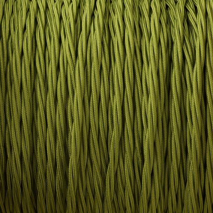 Fabric Covered Braided 3 Core Lighting Flex Cypress Green