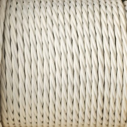 Fabric Covered Braided 3 Core Lighting Flex White