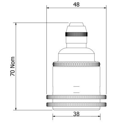 Brass pendant shade ring lamp holder E27 dimensions