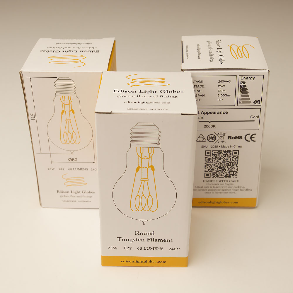 Vintage Edison standard round filament bulb · Edison Light Globes