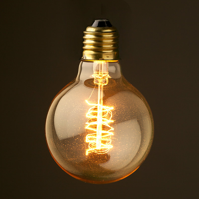 Vintage edison round spiral tungsten filament bulb Tungsten light bulbs