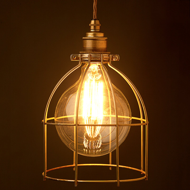 antiqued wide bulb cage pendant