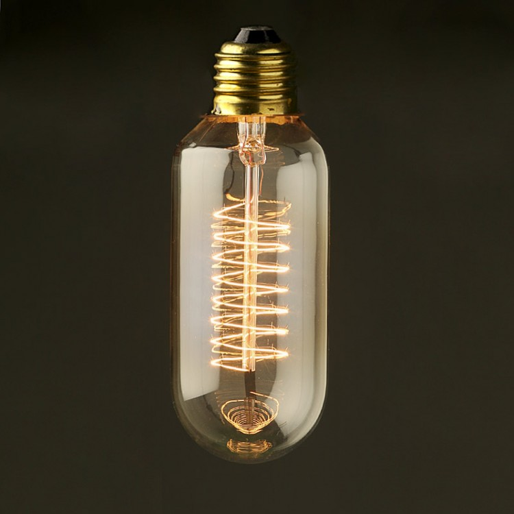 Vintage Edison Spiral Tube tungsten filament bulb