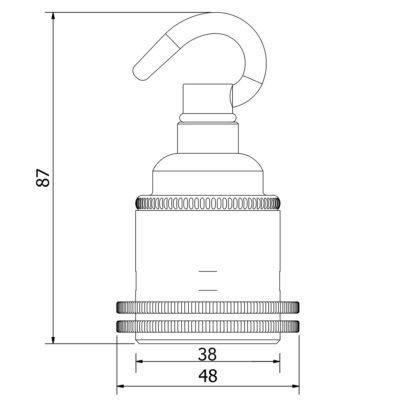 Brass Chain Hook Lamp holder Edison E27 fitting dimensions