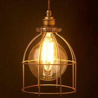 Large Antiqued Light bulb plated cage fitting 7 inch
