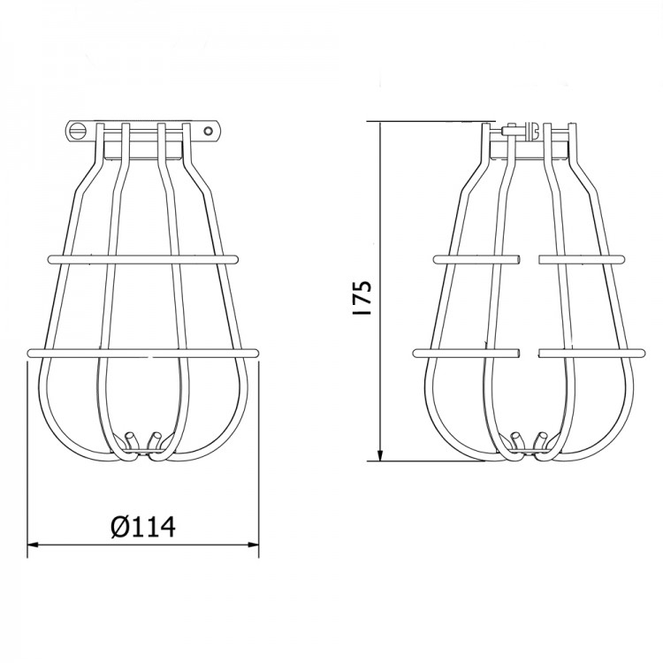 Enclosed Light bulb plated guard fitting