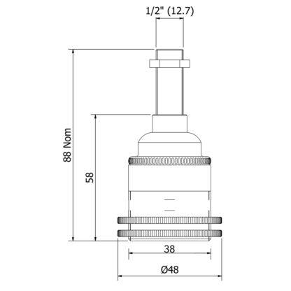 Brass Threaded Lamp holder Edison E27 fitting half inch dimensions