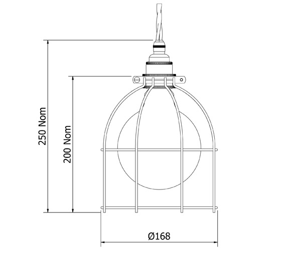Outdoor Lamp Cad Block: Large Antiqued Light Bulb Plated Cage Fitting 7 Inch