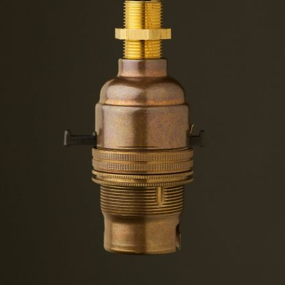 Brass Switched Lamp holder Bayonet B22 fitting threaded entry with nipple