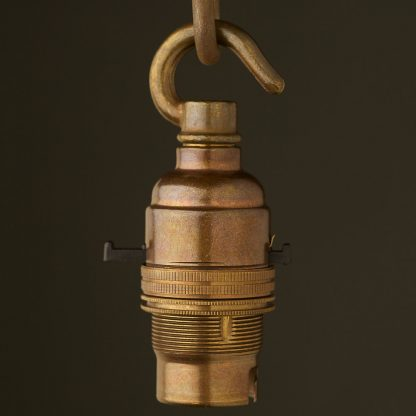 Brass Switched Lamp holder Bayonet B22 fitting hook