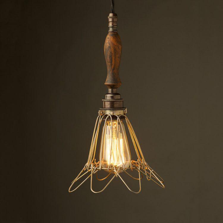 Bronze Trouble Light Cage Pendant wooden handle antiqued