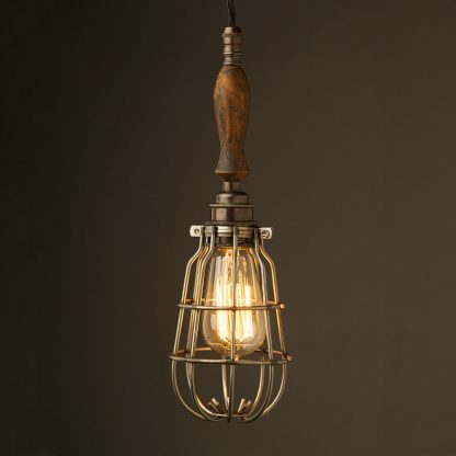 Bronze Trouble Light Cage Pendant wooden handle antiqued