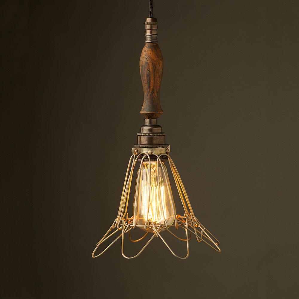Bronze Trouble Light Cage Pendant Wooden Handle Antiqued Wiring A Lamp