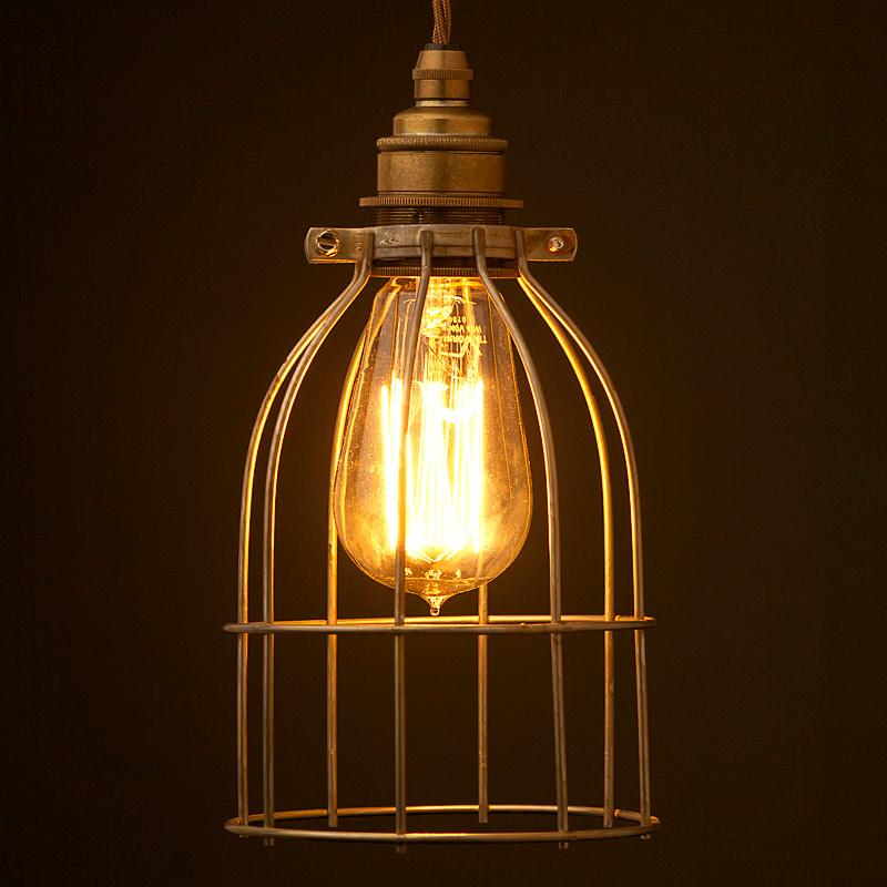 antiqued bulb cage pendant. Black Bedroom Furniture Sets. Home Design Ideas