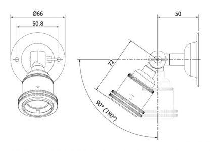 Brass Wing Nut Wall mount Lampholder E27 fitting