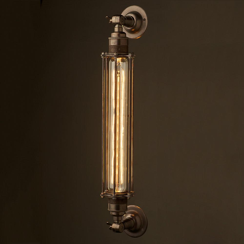 Wall Lights Long : Bronze Long Bulb Cage Wall Mount Lamp E27