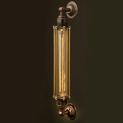 Bronze Long Bulb Cage Wall Mount Lamp