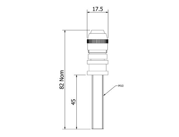 50mm Brass 10mm Allthread Cordgrip and coupler