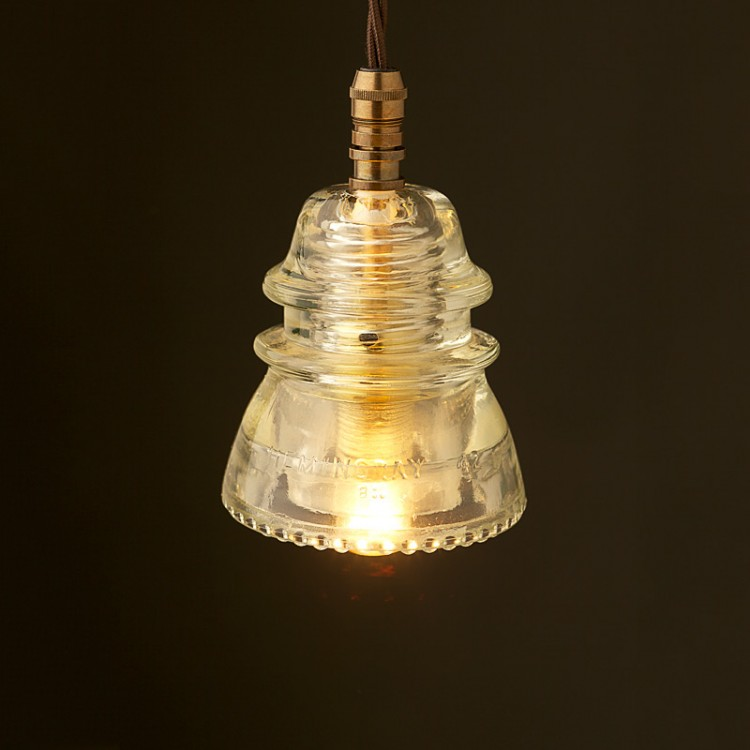 Hemingray insulator no42 clear 240v e14 pendant light for Insulator pendant light