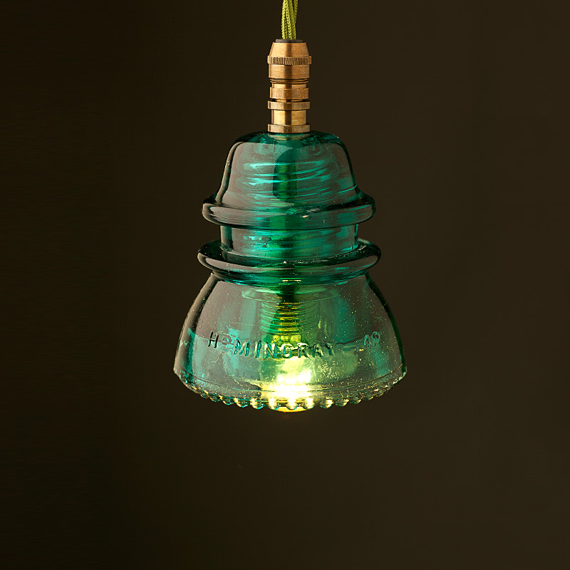 Hemingray insulator no42 green ses pendant light for Insulator pendant light