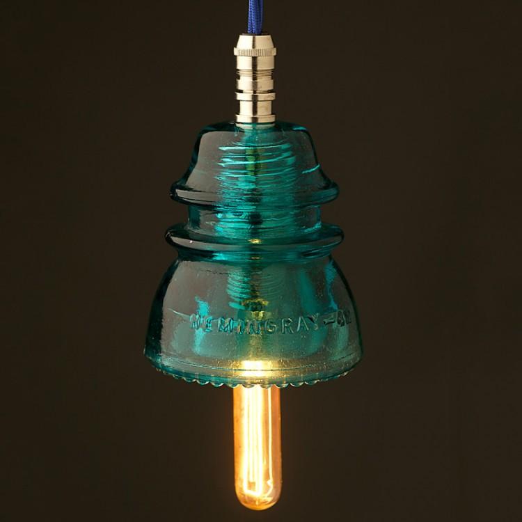 Hemingray Insulator No42 Light Aqua SES pendant light