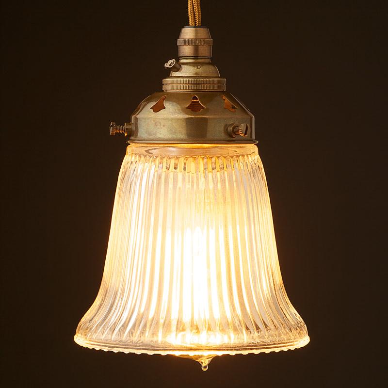 Metal Bell Lamp Shade: Holophane Bell Glass Light Shade Pendant