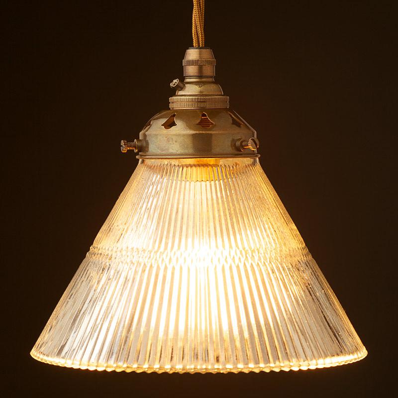 holophane cone glass light shade pendant