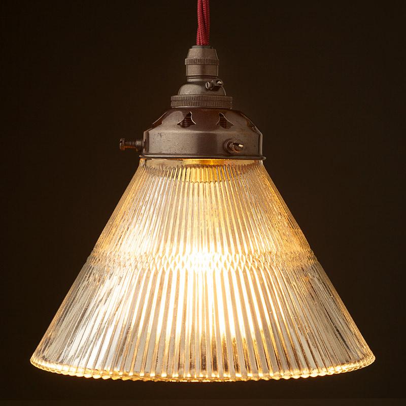 Metal Lamp Cone Shade: Holophane Cone Glass Light Shade Pendant