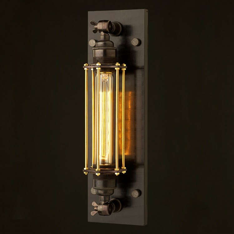 Bronze Medium Bulb Cage Wall Mount Lamp E27
