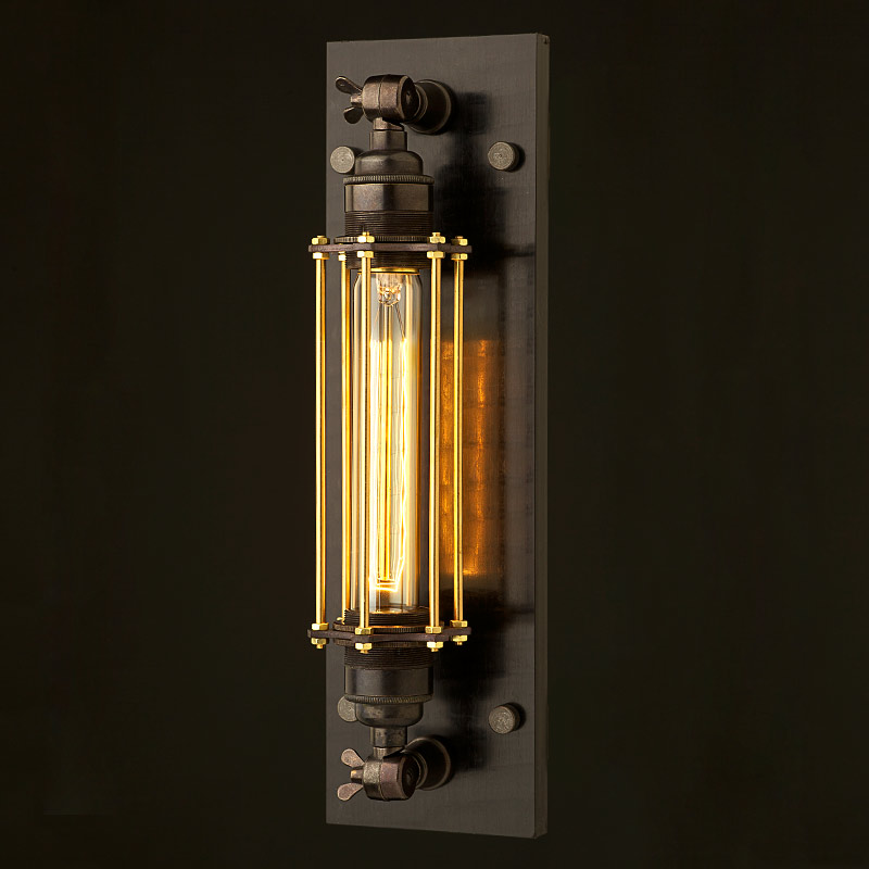 Wall Mounted Movable Lamp : Bronze Medium Bulb Cage Wall Mount Lamp E27