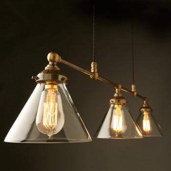 Billiard-light-brass-cone-shade-clear